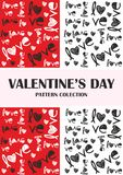 Valentines day red, black, pattern collection royalty free illustration