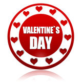 Valentines day red circle banner with hearts symbols Stock Photography