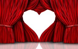 Valentines Day Red Curtains On White Royalty Free Stock Image
