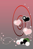 Valentines Day Red Gradient Background. With Bubbles Illustration stock illustration