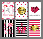 Valentine's Day red greeting cards set Stock Photo