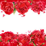 Valentines day. Red heart and background of red roses. watercolo Stock Images