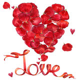 Valentines day. Red heart and background of red roses. watercolo Royalty Free Stock Photo