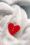 Valentines day red heart on bedspread Stock Images