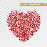 Valentines day red heart design element from particles small hearts. Feast day of St. Valentine. Realistic transparency vector Royalty Free Stock Images