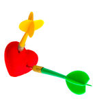 Valentines day. Red heart love symbol with two darts. Competition. Stock Photo