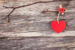 Valentines day red heart over wooden background. Toned, soft focus, copy space Stock Images