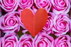 Valentines day ,red heart and pink roses Royalty Free Stock Photos