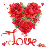 Valentines day. Red heart and red roses. watercolo Royalty Free Stock Photography