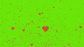 Valentines day red hearts flying on green background. 4K