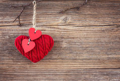 Valentines day red hearts over wooden background. Toned, soft focus, copy space Stock Image