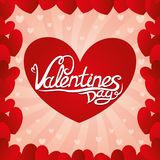 Valentines day with red hearts. Pink illustration with red hearts for Valentines day Royalty Free Stock Photography
