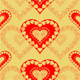 Valentines day red hearts seamless texture gold background  Stock Image