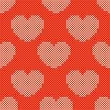 Valentines day red knitted seamless pattern Royalty Free Stock Image