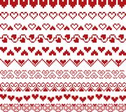 Valentines day red knitted seamless pattern with hearts royalty free illustration
