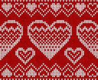 Valentines day red knitted vector seamless pattern Royalty Free Stock Images