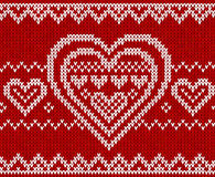 Valentines day red knitted vector seamless pattern Royalty Free Stock Image
