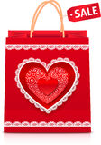 Valentines day red paper shopping bag Stock Photo