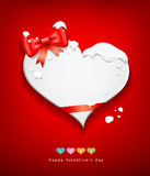 Valentines Day red ribbon snow in winter Stock Photo