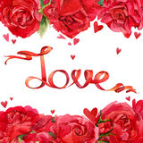 Valentines day. Red roses and background of red heart and ribbon Royalty Free Stock Images
