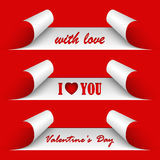 Valentines day red stickers. Vector eps 10 Royalty Free Stock Image