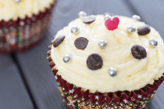 Valentines Day Red Velvet Cupcakes with Sprinkles, Love, Horizontal View Royalty Free Stock Photography