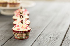 Valentines Day Red Velvet Cupcakes with Sprinkles, Love, Horizontal View Royalty Free Stock Photo