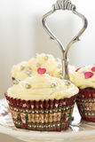 Valentines Day Red Velvet Cupcakes with Sprinkles, Vertical Royalty Free Stock Photography