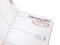 Valentines day reminder - diary February 14 Stock Photography