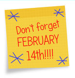 Valentines Day reminder - sticky note, Febuary 14th Royalty Free Stock Photos