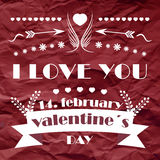 Valentines day retro  background with ornate elements Royalty Free Stock Photo