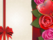 Valentines Day retro card with heart and roses Royalty Free Stock Photos