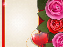 Valentines Day retro card with hearts and roses Royalty Free Stock Photography