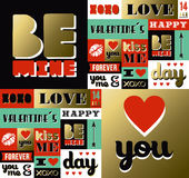 Valentines day retro gold pattern label quote Stock Image