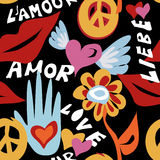 Valentines day retro hippie seamless pattern Royalty Free Stock Images