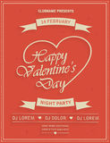 Valentines Day retro party flyer invitation Royalty Free Stock Image