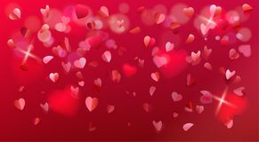 Valentines Day Romance Flying Hearts Rose Petals Confetti Sign Royalty Free Stock Photography