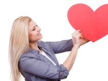 Woman holding big red heart, love sign Royalty Free Stock Photo