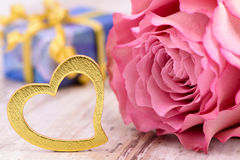 Valentines day in romance with rose and heart Royalty Free Stock Image