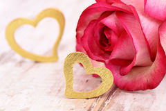 Valentines day in romance with rose and heart Royalty Free Stock Photography