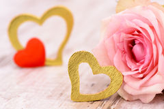 Valentines day in romance with rose and heart Royalty Free Stock Photo
