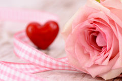 Valentines day in romance with rose and heart Royalty Free Stock Images
