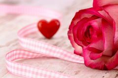 Valentines day in romance with rose and heart Stock Images