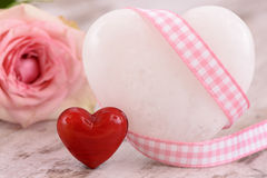 Valentines day in romance with rose and heart Stock Photo