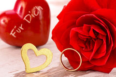 Valentines day in romance with rose and heart Royalty Free Stock Photos