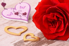 Valentines day in romance with rose and heart Stock Photography