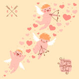 Valentines Day romantic background with cute. Angels. Vector illustration royalty free illustration