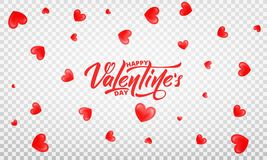 Valentines Day. Romantic background with glossy. Hearts and Happy Valentine`s Day lettering.  Stock Image