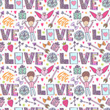 Valentines day romantic background. Vector creative pattern with cupid angel, arrows and love words. Creative seamless Stock Photography