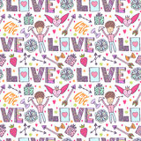 Valentines day romantic background. Vector creative pattern with cupid angel, arrows and love words. Creative seamless print. Royalty Free Stock Image